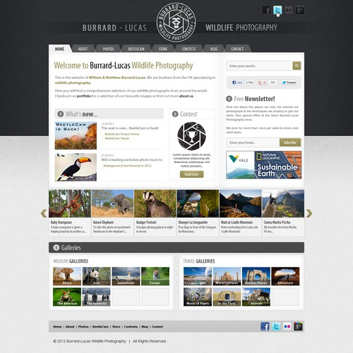 Website for a wildlife photographer
