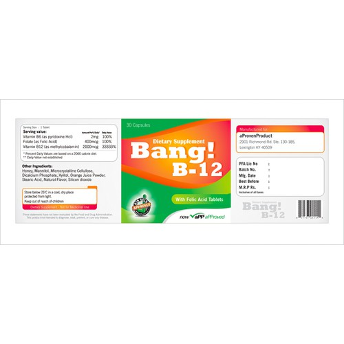 product label for Bang! B-12