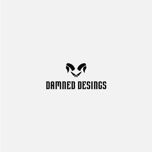 """""""The damned"""" logo for a manufacturer of knives."""
