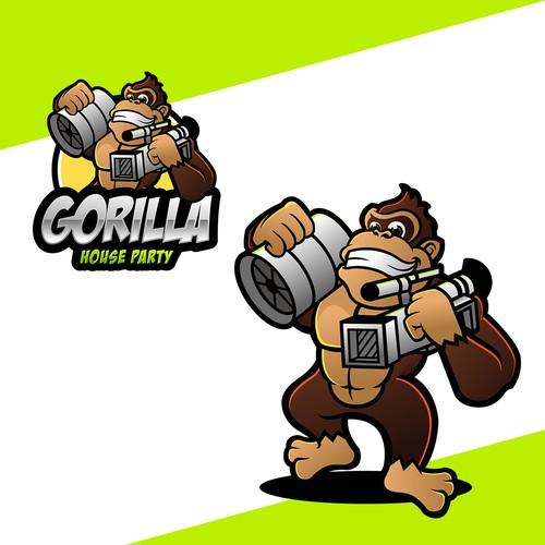 Donkey Kong Style Gorilla Logo for Video Production Company
