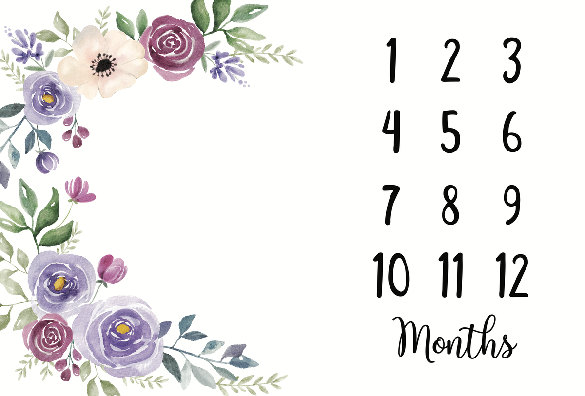 Baby milestone blanket - Floral