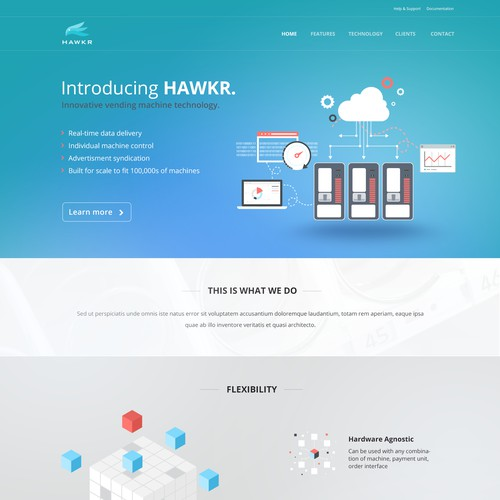 Clean layout for tech startup company