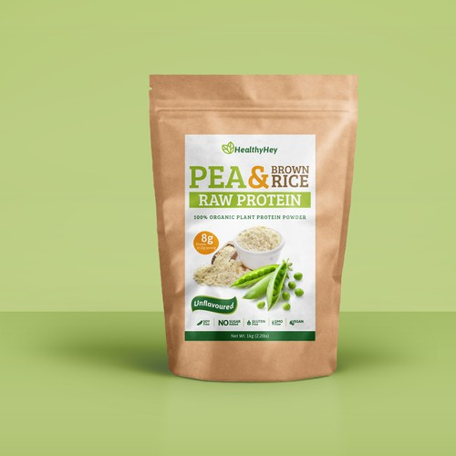 Raw organic plant based protein label
