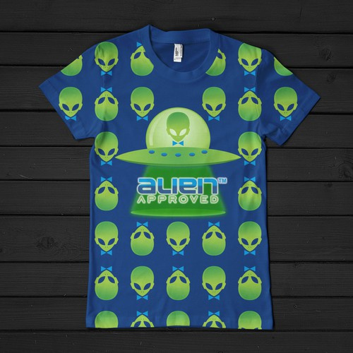 Space Ship/ alien heads male/female clever print inspired t shirt forAlien Appr