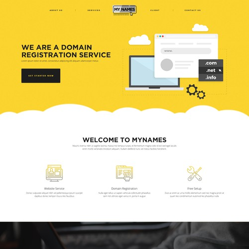 web design concept for MyNames