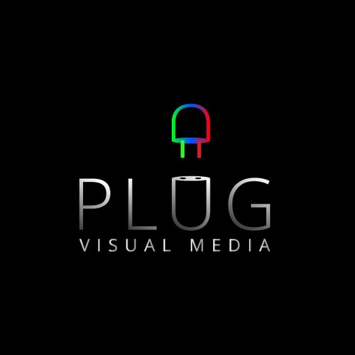 Create a logo to convey visual creativity, good composition for Plug Visual Media