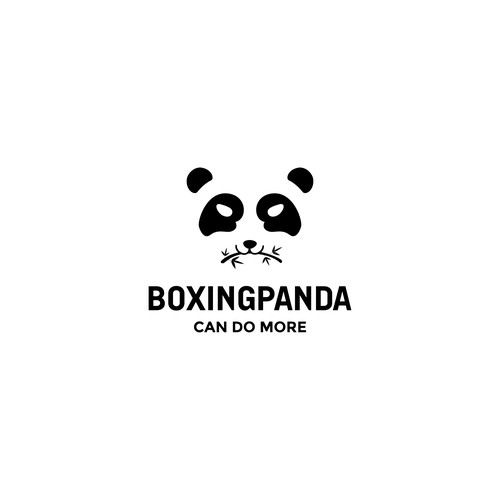Smart panda in negative space logo