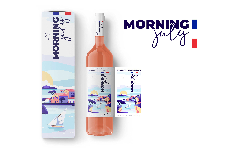 Illustration for a rosé wine label