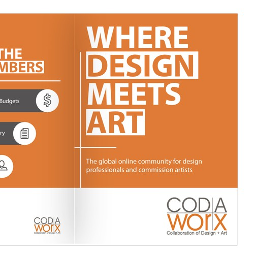 Create a brochure for design + art website, CODAworx