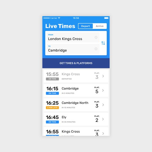Railboard App Homescreen