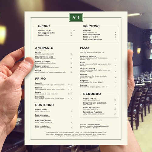 Menu design for A16 Rockridge Restaurant