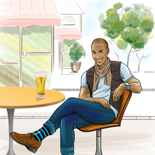 cute dark man in jeans