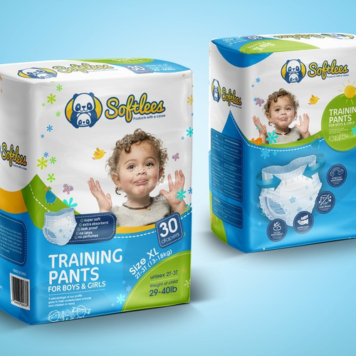 Eye-catching package for kids training pants