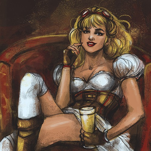 Steampunk pin-up-girl for beer label ( with a smile)