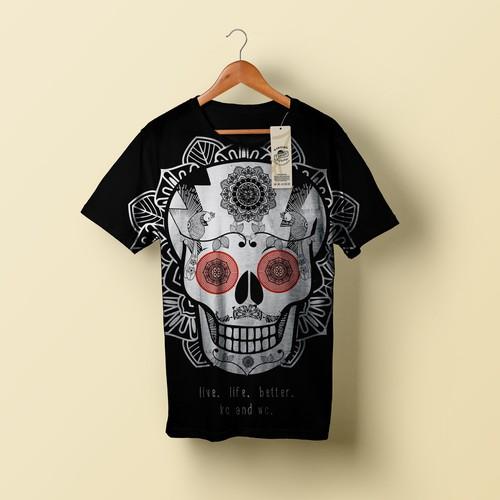 hipster super skull t-shirt