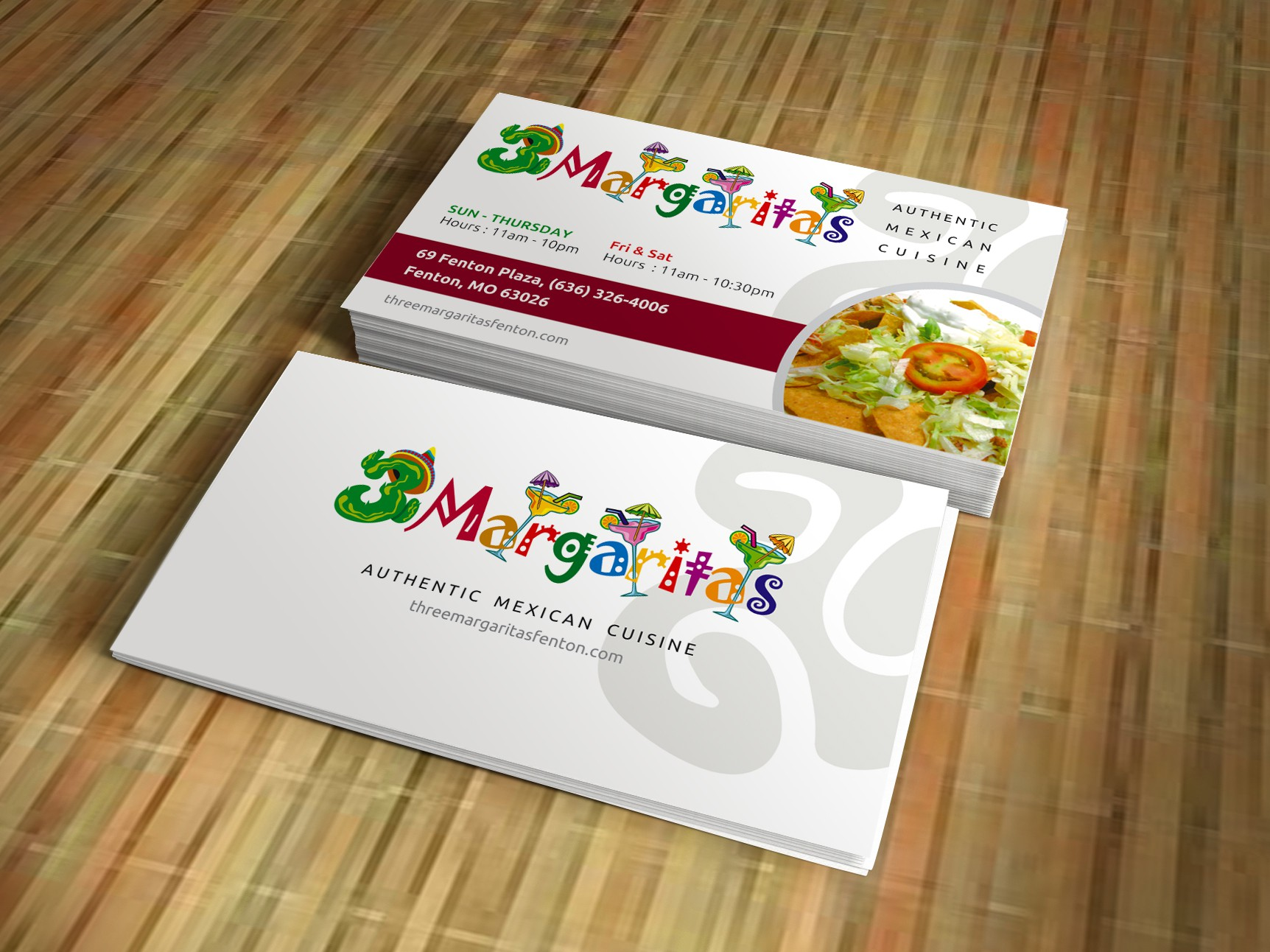 Create the next logo for 3 Margaritas Mexican Restaurant