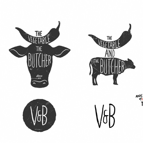 Logo for the Vegetable and the Butcher