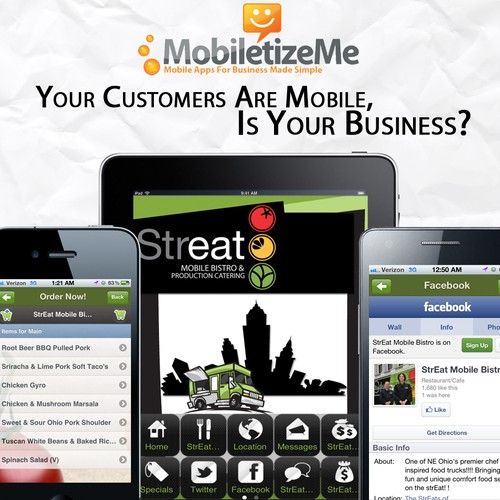 "New postcard or flyer wanted for MobiletizeMe - Mobile Apps For Business Made ""Simple"" (or ""Easy"") (whichever fits)"
