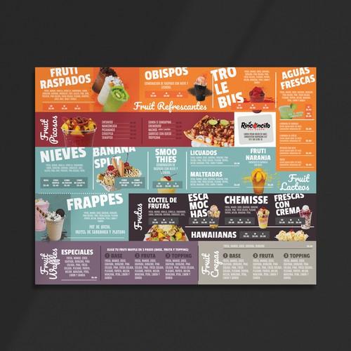 Smoothie bar menu