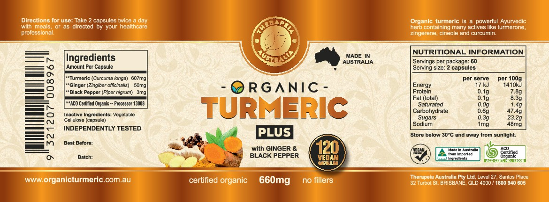 Organic Turmeric supplement label - redesign