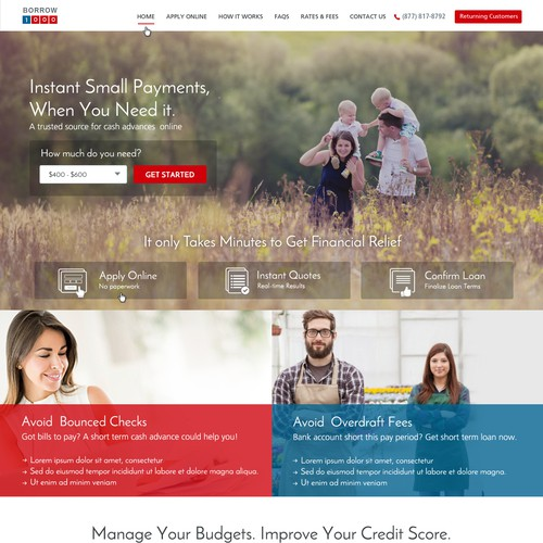 Website design for Borrow1000.com