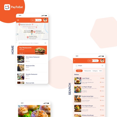 Mobile app design for restaurant