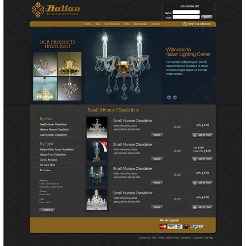 Design wanted for a lighting/chandelier website