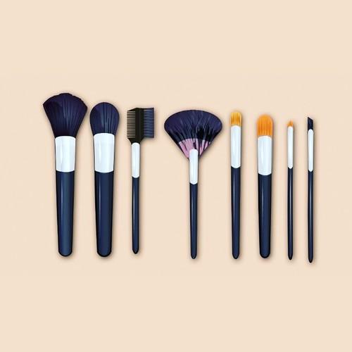 Photo realistic ilmake up brushes illustration
