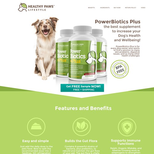 Healthy Paws Lifestyle landing page