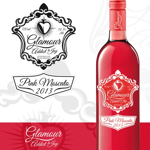 "Create a WINE LABEL & PACKAGING for ""Glamour"" the PINK MOSCATO"