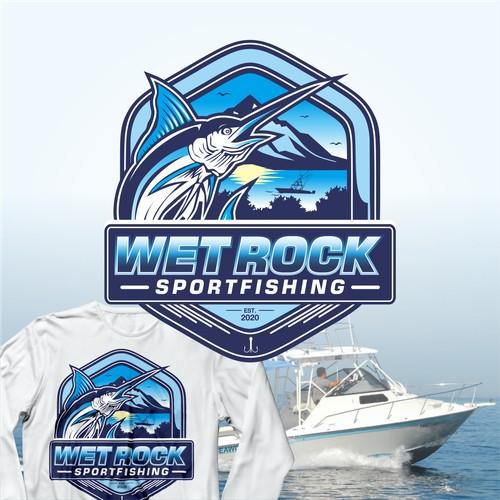 logo concept for wet rock sportfishing
