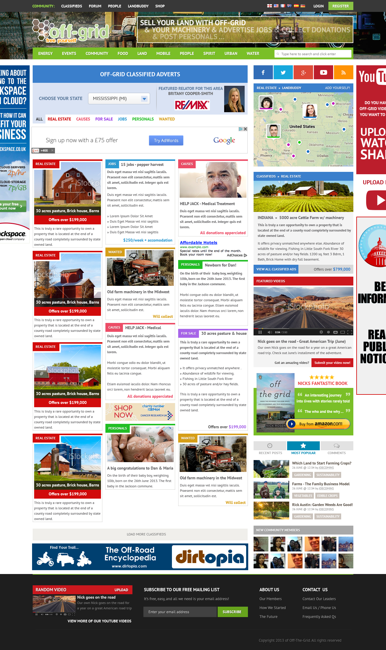 off-grid - real estate, community and news - website re-design