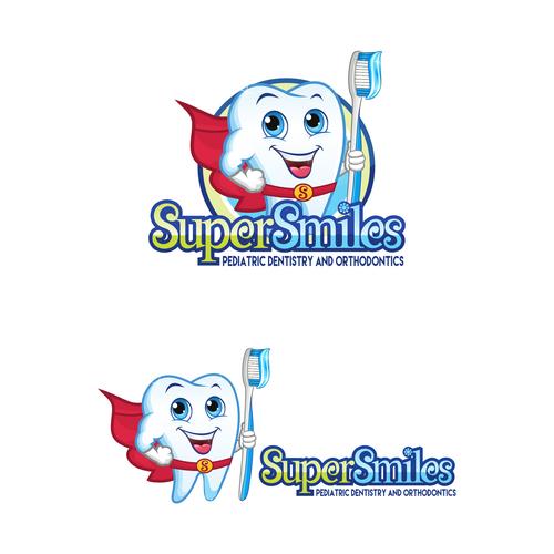 Fun Super Hero theme- Super Smiles Pediatric Dentistry and Orthodontics cartoon/animation and logo