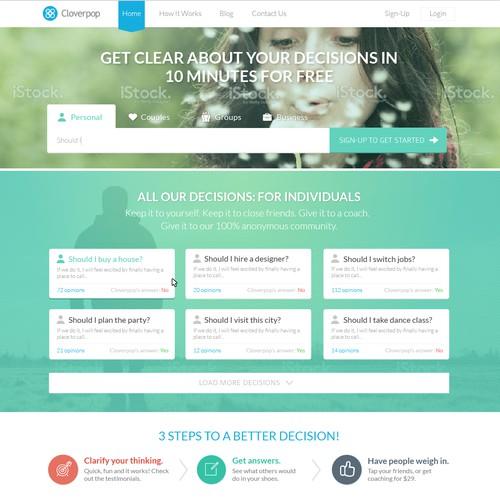 Cloverpop.com; Homepage Design