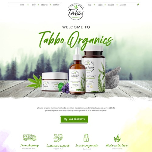 Organic Homepage design for Taboo version 2