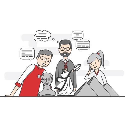 Flat illustration for a history website