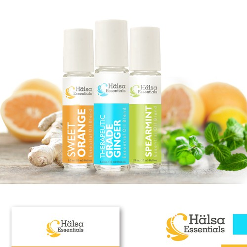 bright and clear label design for essential oils