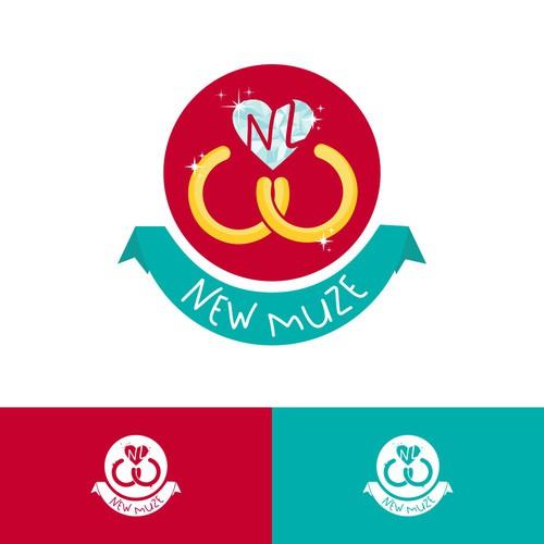 Iconic B2B emblem logo for a wedding professional's marketing company ❤