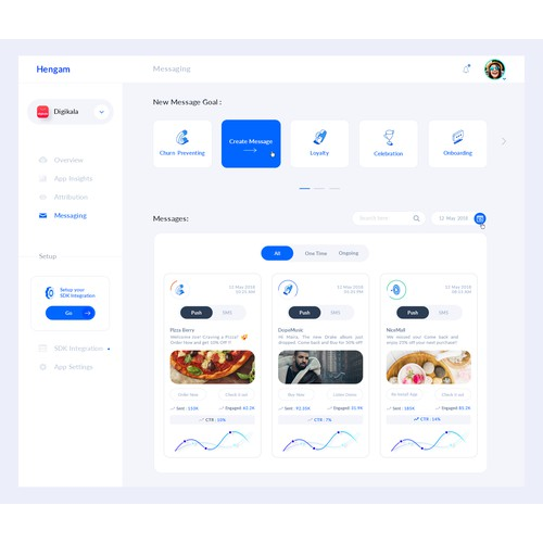 UI design for marketing web app - Messaging