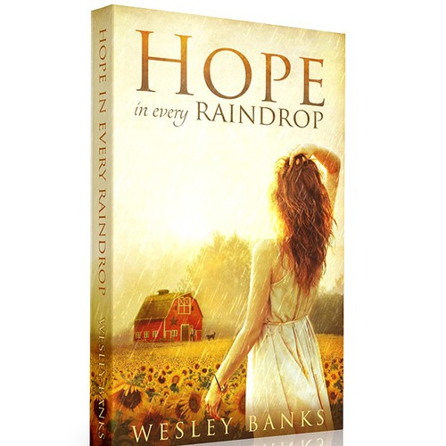 "Country Themed Book Cover for ""Hope In Every Raindrop"""