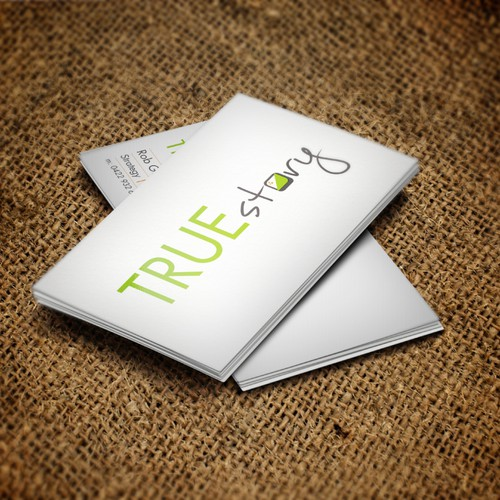 Create the next logo and business card for True Story