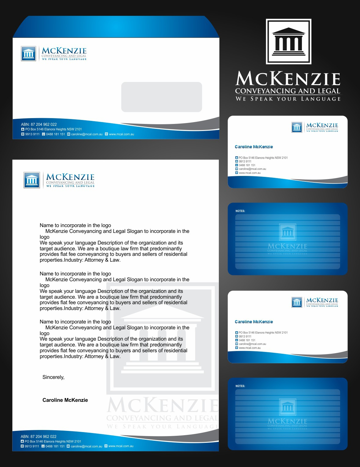 Create the next logo for McKenzie Conveyancing and Legal