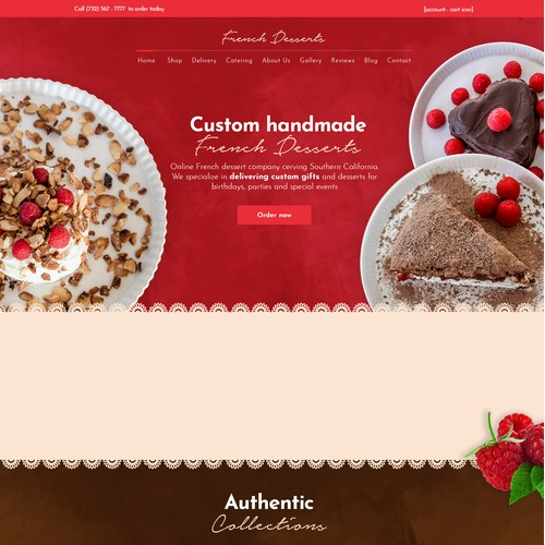 A textured version for Frenchdessert.com web design