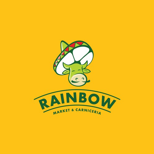 Fun youthful logo for Rainbow Market and carniceria
