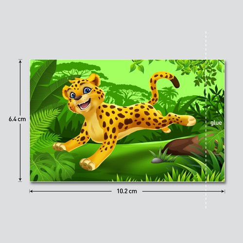 Fun Character Jungle Animals on Chalk Holder Stickers