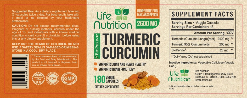 """Life Nutrition needs a """"beautiful label"""" for its Turmeric Extract bottle -  (Two (2) Winners will be awarded! )"""