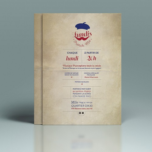 Create Ads for French Themed Night in a cool cocktail bar