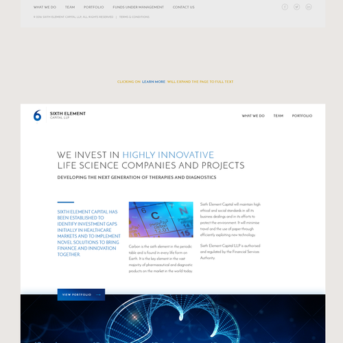 Expandable homepage for life science investors website