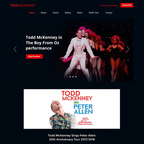 Singer & Performer Website Design