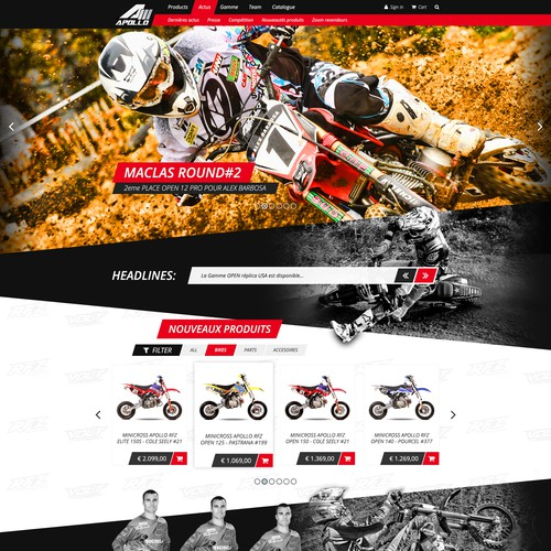 Create the NEW web site 2.0 for a US Motocross company
